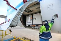 Cool boxes are being transported by airplane at Schiphol Airport Amsterdam
