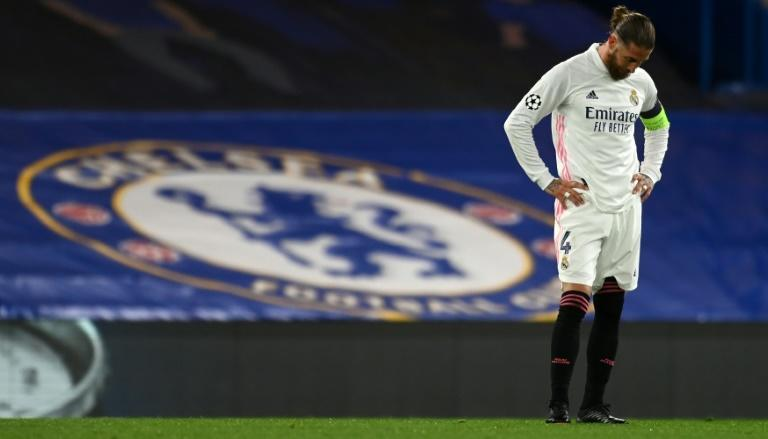 Deep in thought: Sergio Ramos digests Real Madrid's Champions League exit