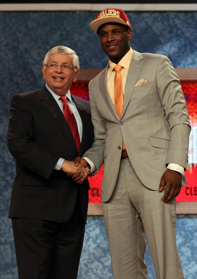 NEWARK, NJ - JUNE 28: Dion Waiters of Syracuse greets NBA Commissioner David Stern (L) after he was selected number four overall by the the Cleveland Cavaliers during the first round of the 2012 NBA Draft at Prudential Center on June 28, 2012 in Newark, New Jersey. NOTE TO USER: User expressly acknowledges and agrees that, by downloading and/or using this Photograph, user is consenting to the terms and conditions of the Getty Images License Agreement. (Photo by Elsa/Getty Images)