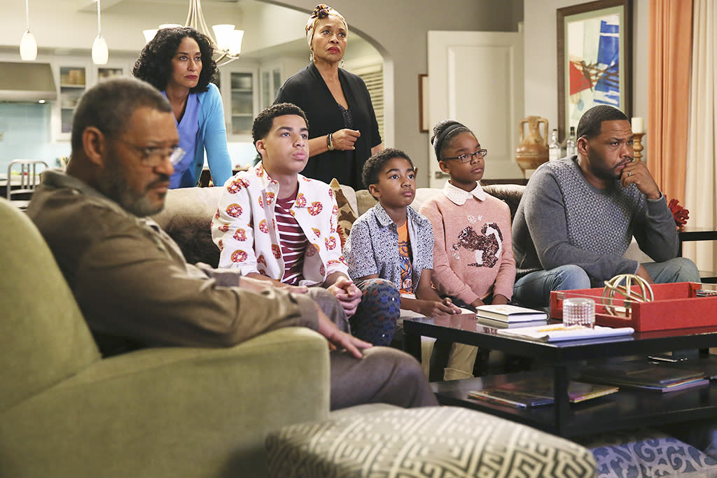 """<p>Primetime network television had all but given up on tackling timely topics. But <em>black-ish</em> aired this superb piece about discriminatory police brutality in a way that did not preach, but somehow also managed to do the job of entertainment as well. —<em>Ken Tucker</em><br /><a rel=""""nofollow"""" href=""""https://www.yahoo.com/tv/emmys-black-ish-anthony-anderson-192203663.html"""">Anthony Anderson discusses the episode.</a> <br /><br />(Credit: Patrick Wymore/ABC/Getty Images) </p>"""