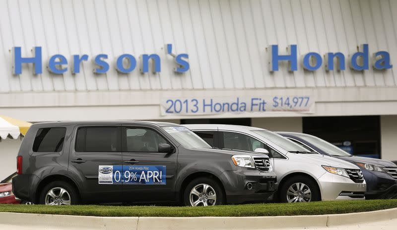 A Honda new car lot shows vehicles available for 0.9 per cent financing in Rockville, Maryland