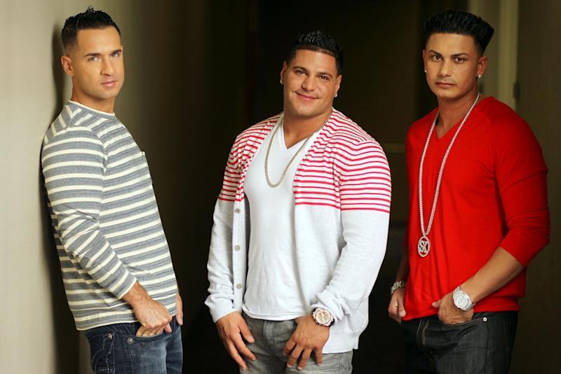 "This Oct. 2, 2012 photo shows cast members, from left, Mike ""The Situation"" Sorrentino, Ronnie Ortiz-Magro and Paul ""Pauly D"" DelVecchio from the television show ""Jersey Shore"", pose for a portrait in Los Angeles. The final season of the MTV reality season premieres on Thursday. (Photo by Matt Sayles/Invision/AP)"