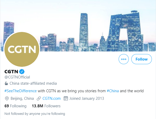 Example of the new label on China's CGTN (Twitter/PA)