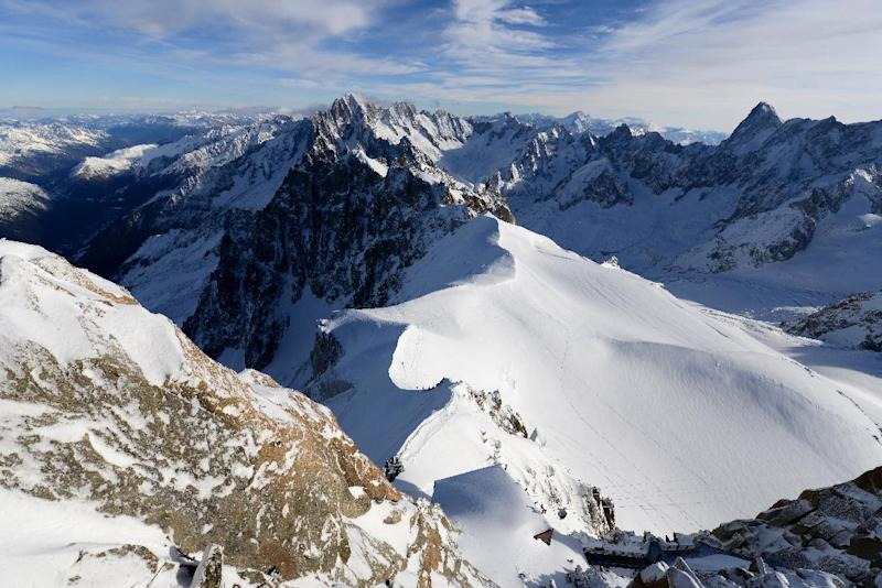 File picture taken on December 23, 2013 shows the Aiguille Du Midi peak in the Mont Blanc range, in Chamonix in the French Alps
