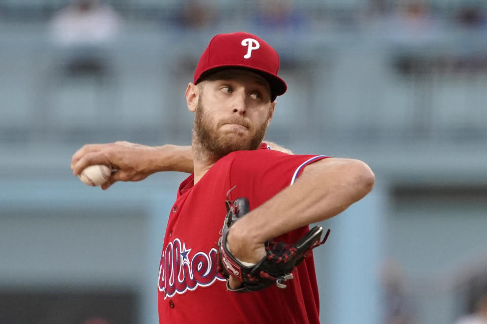 Philadelphia Phillies starting pitcher Zack Wheeler throws to the plate during the first inning of a baseball game against the Los Angeles Dodgers Wednesday, June 16, 2021, in Los Angeles. (AP Photo/Mark J. Terrill)