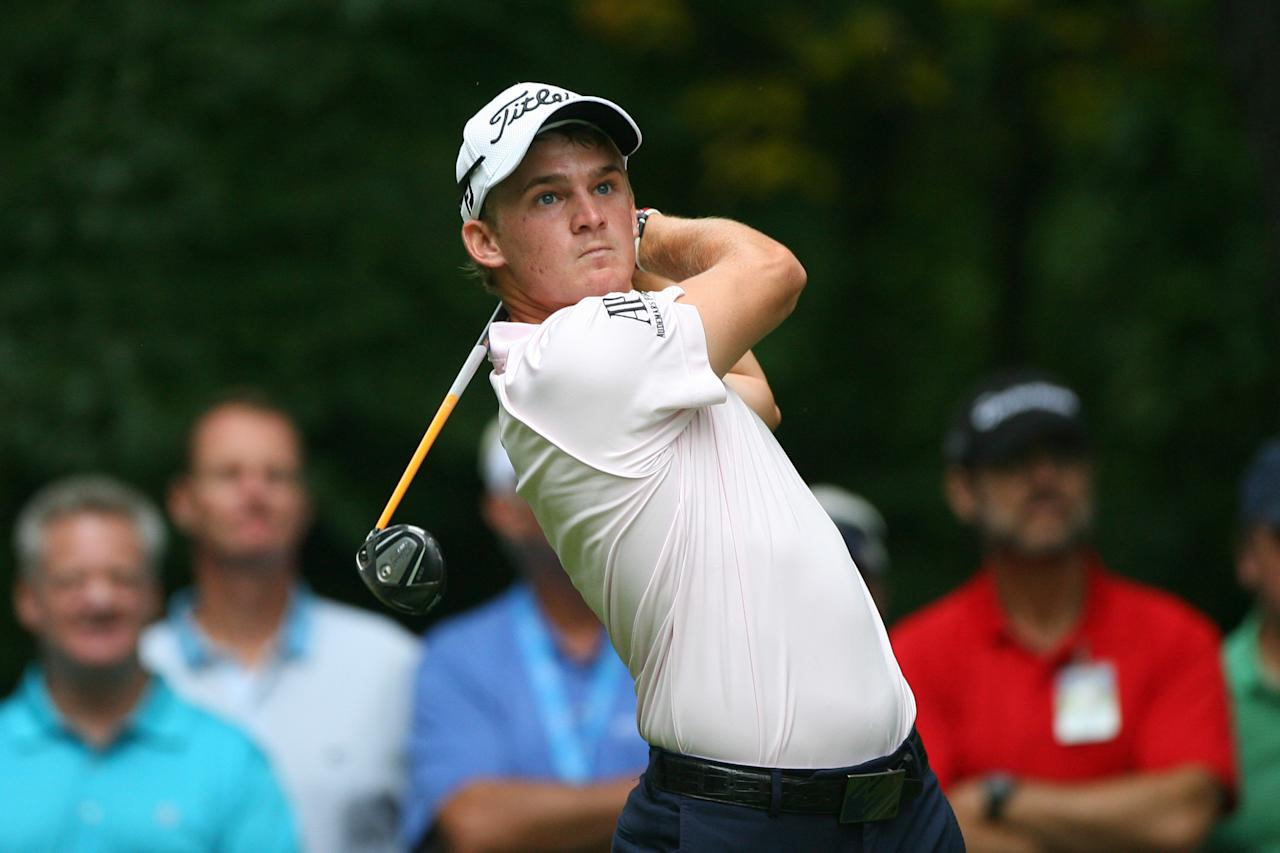 GREENSBORO, NC - AUGUST 19: Bud Cauley hits his tee shot on the second hole during the final round of the Wyndham Championship at Sedgefield Country Club on August 19, 2012 in Greensboro, North Carolina. (Photo by Hunter Martin/Getty Images)