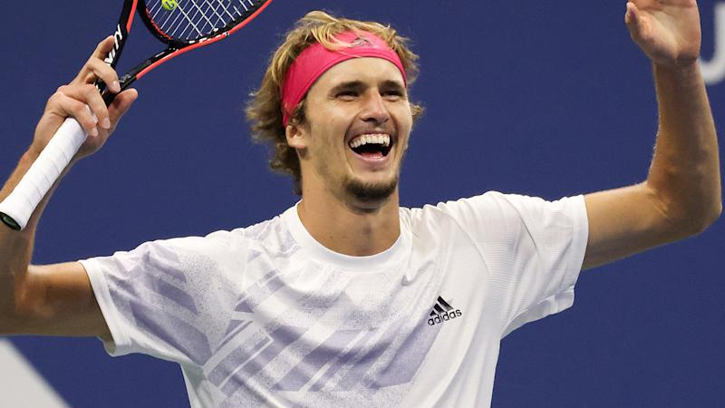 Alexander Zverev, pictured here celebrating his win over Pablo Carreno Busta.