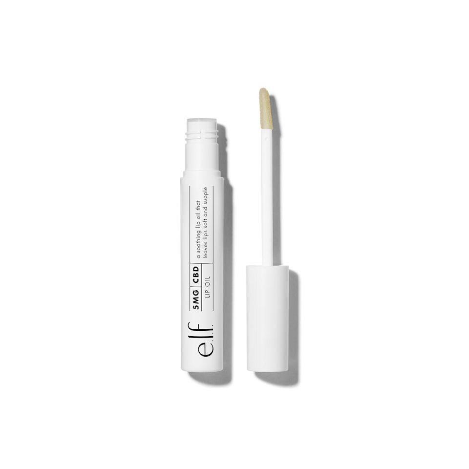 "<h3>e.l.f. 5 mg CBD Lip Oil</h3> <br>It's never too late to jump on <a href=""https://www.refinery29.com/en-us/2019/08/239351/what-is-cbd-in-beauty-products"" rel=""nofollow noopener"" target=""_blank"" data-ylk=""slk:the CBD train"" class=""link rapid-noclick-resp"">the CBD train</a> — and if you're currently onboard, you're probably already obsessed with this lip oil. The peppermint-and-vanilla scent smells like a gooey holiday treat, but won't get caught in your ponytail the next time you go for a run.<br><br><strong>e.l.f</strong> 5 mg CBD Lip Oil, $, available at <a href=""https://go.skimresources.com/?id=30283X879131&url=https%3A%2F%2Fwww.elfcosmetics.com%2F5-mg-cbd-lip-oil%2F57357.html"" rel=""nofollow noopener"" target=""_blank"" data-ylk=""slk:e.l.f"" class=""link rapid-noclick-resp"">e.l.f</a><br>"