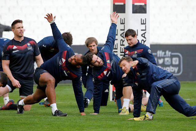 Rugby Union - France Captain's Run - Orange Velodrome, Marseille, France - February 22, 2018 France's Marco Tauleigne with team mates during the captain's run REUTERS/Jean-Paul Pelissier