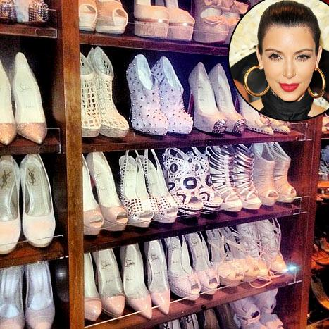 Wow! See Kim Kardashian's Color-Coordinated Shoe Closet