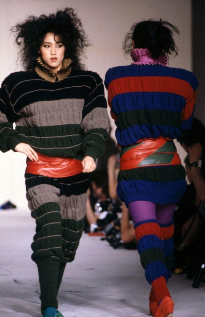 <p>Models strut down the runway at Issey Miyake's fall 1983 ready-to-wear show.</p>
