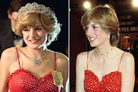<p><em>The Crown </em>added a tiara and matching necklace to Princess Diana's red polka dot dress with spaghetti straps.</p>