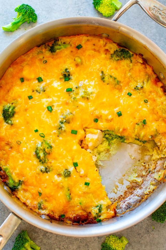 "<p>This ooey, gooey, cheesy skillet meal makes six servings and keeps in the refrigerator for up to five days. Did we mention the cheese?</p> <p><strong>Get the recipe:</strong> <a href=""https://www.averiecooks.com/cheesy-chicken-broccoli-and-egg-skillet/"" target=""_blank"" class=""ga-track"" data-ga-category=""Related"" data-ga-label=""https://www.averiecooks.com/cheesy-chicken-broccoli-and-egg-skillet/"" data-ga-action=""In-Line Links"">cheesy chicken broccoli and egg skillet</a></p>"