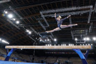 Jade Carey, of the United States, performs on the balance beam during the artistic gymnastics women's all-around final at the 2020 Summer Olympics, Thursday, July 29, 2021, in Tokyo. (AP Photo/Gregory Bull)