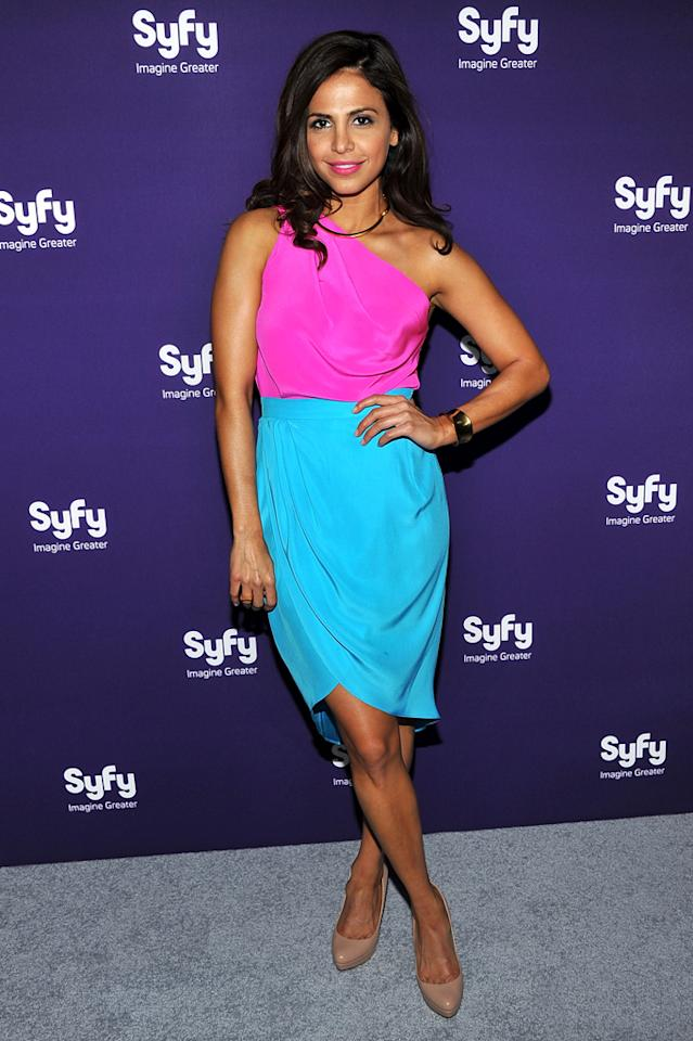 """Azita Ghanizada (""""<a href=""""http://tv.yahoo.com/alphas/show/41988/"""">Alphas</a>"""") attends Syfy's 2012 Upfront event at the American Museum of Natural History on April 24, 2012 in New York City."""