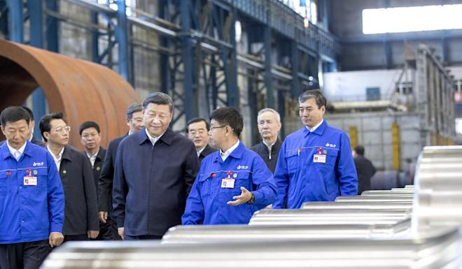 President Xi Jinping visits a state-owned plant in Heilongjiang province. Photo: Xinhua
