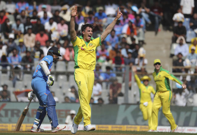 Australia's Pat Cummins appeals unsuccessfully for an LBW decision during the first one-day international cricket match between India and Australia in Mumbai, India, Tuesday, Jan. 14, 2020. (AP Photo/Rafiq Maqbool)
