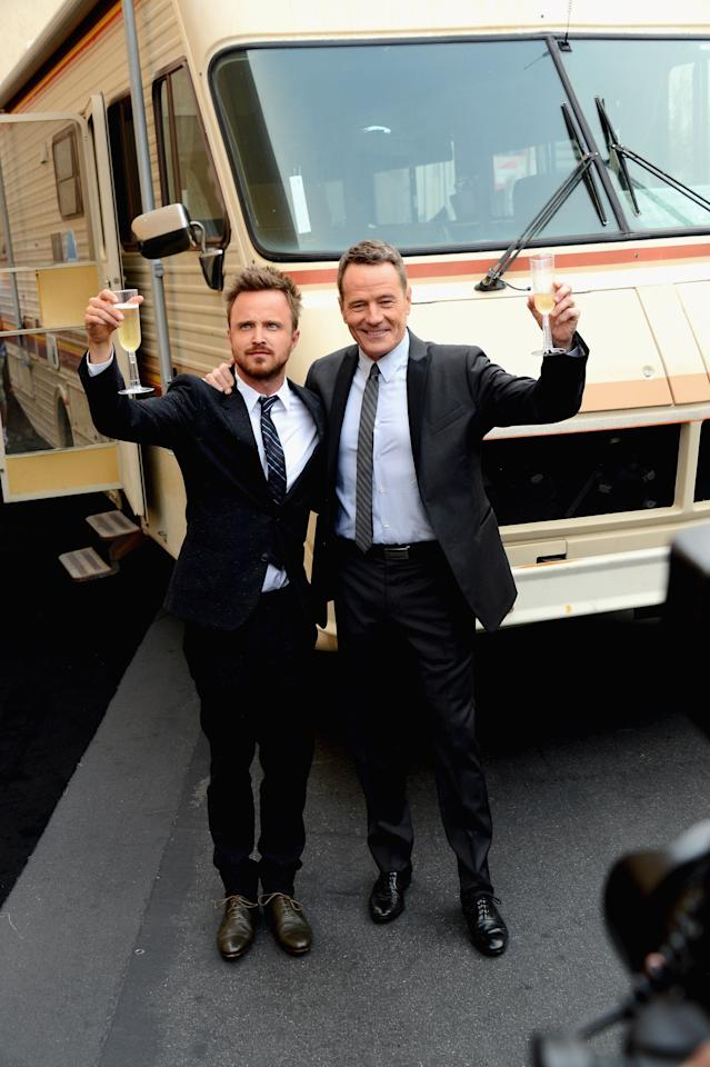 "CULVER CITY, CA - JULY 24: Actors Aaron Paul and Bryan Cranston arrive as AMC Celebrates the final episodes of ""Breaking Bad"" at Sony Pictures Studios on July 24, 2013 in Culver City, California. (Photo by Mark Davis/Getty Images)"