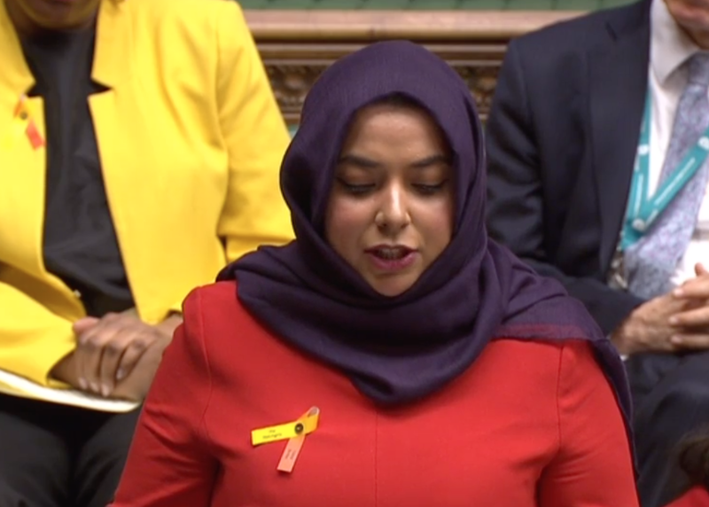 Apsana Begum made her maiden speech in the House of Commons, becoming the first hijab-wearing MP to do so. (ParliamentTV)