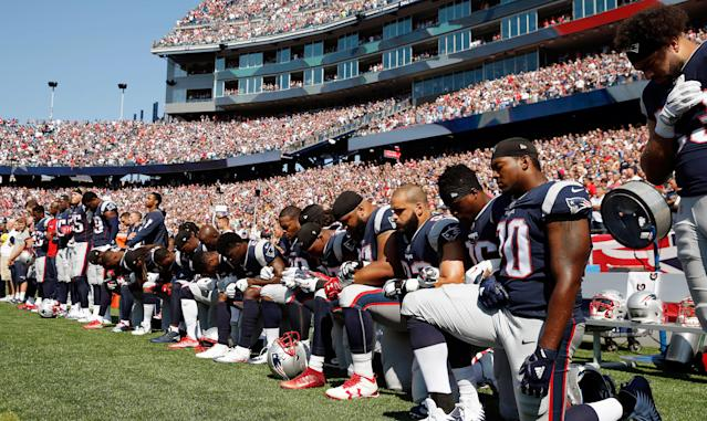 NFL players began kneeling during the national anthem to  <span>protest police brutality and racial injustice, but have been criticized for disrespecting the flag and American veterans.</span>