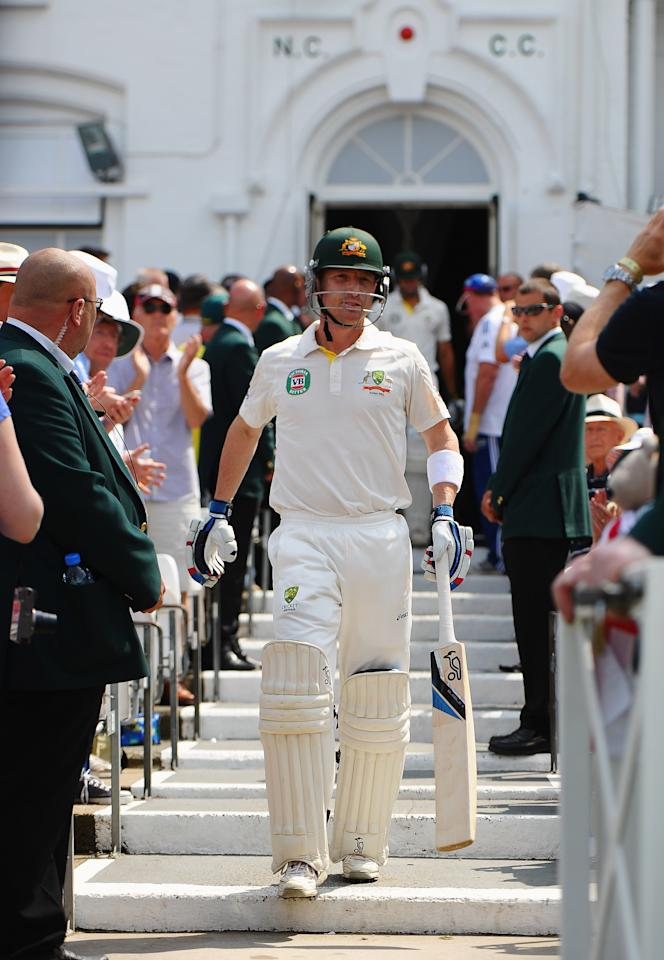 NOTTINGHAM, ENGLAND - JULY 14: Brad Haddin of Australia walks out to bat after lunch during day five of the 1st Investec Ashes Test match between England and Australia at Trent Bridge Cricket Ground on July 14, 2013 in Nottingham, England.  (Photo by Laurence Griffiths/Getty Images)