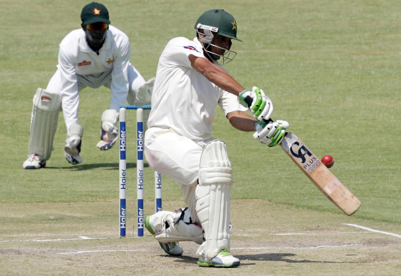 Pakistan's batsman Abdul Rehman plays a shot on the fifth day of the second test match between Pakistan and Zimbabwe at the Harare Sports Club on September 14, 2013. AFP PHOTO / JEKESAI NJIKIZANA        (Photo credit should read JEKESAI NJIKIZANA/AFP/Getty Images)