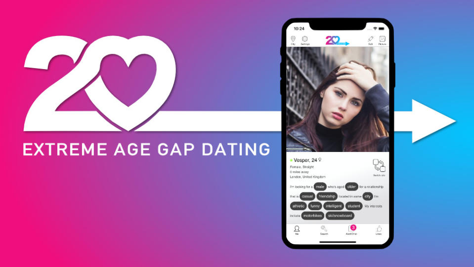 20 Dating is a new 'extreme' age gap dating app. Photo: 20 Dating (supplied).