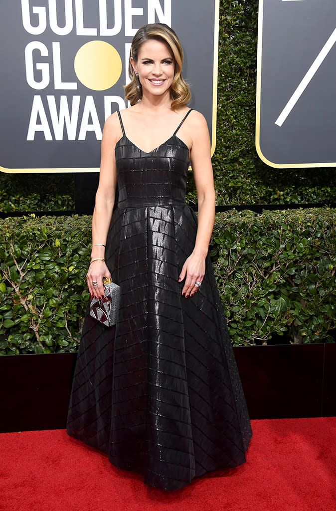 <p>The <em>Access Hollywood</em> personality arrives at the 75th annual Golden Globes in Los Angeles, Calif. (Photo: Frazer Harrison/Getty Images) </p>