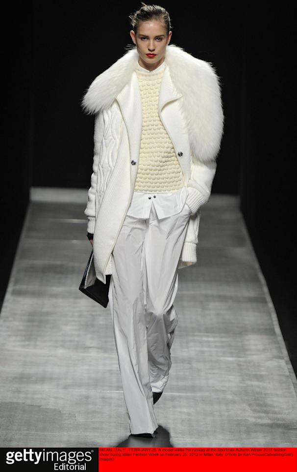 MILAN, ITALY - FEBRUARY 25:  A model walks the runway at the Sportmax Autumn Winter 2012 fashion show during Milan Fashion Week on February 25, 2012 in Milan, Italy.  (Photo by Karl Prouse/Catwalking/Getty Images)