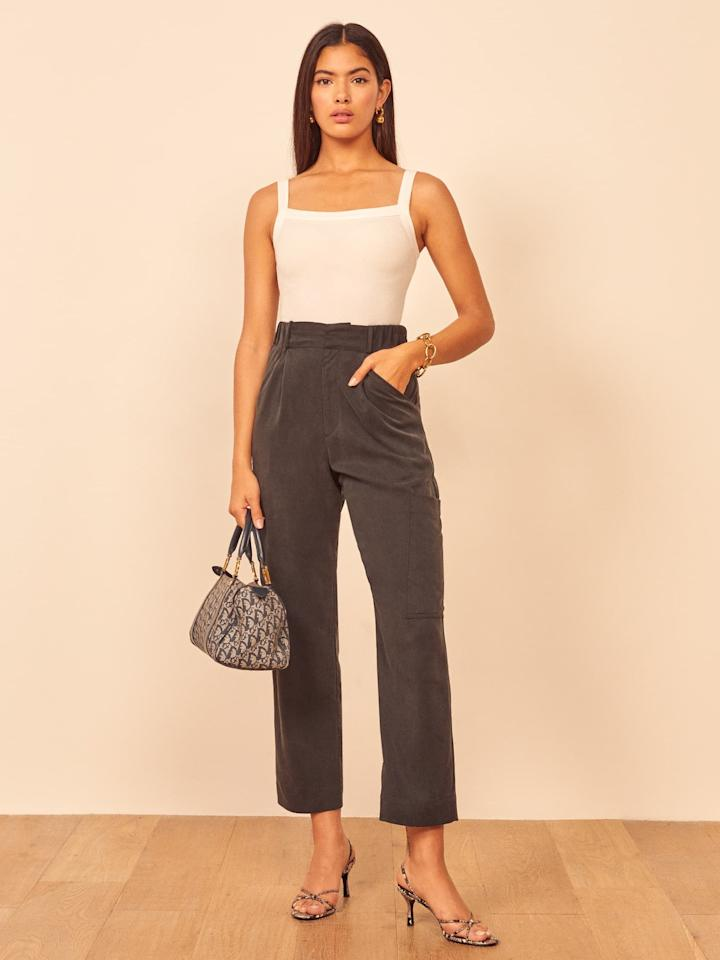 "<p>The side pocket on these <a href=""https://www.popsugar.com/buy/Reformation-Rodin-Pants-540393?p_name=Reformation%20Rodin%20Pants&retailer=thereformation.com&pid=540393&price=125&evar1=fab%3Auk&evar9=47085485&evar98=https%3A%2F%2Fwww.popsugar.com%2Ffashion%2Fphoto-gallery%2F47085485%2Fimage%2F47462819%2FReformation-Rodin-Pants&list1=shopping%2Cpants%2Cworkwear%2Cfashion%20shopping&prop13=api&pdata=1"" rel=""nofollow"" data-shoppable-link=""1"" target=""_blank"" class=""ga-track"" data-ga-category=""Related"" data-ga-label=""https://www.thereformation.com/products/rodin-pant?color=Black&amp;via=Z2lkOi8vcmVmb3JtYXRpb24td2VibGluYy9Xb3JrYXJlYTo6Q2F0YWxvZzo6Q2F0ZWdvcnkvNWE2YWRmZDNmOTJlYTExNmNmMDRlOWNh"" data-ga-action=""In-Line Links"">Reformation Rodin Pants</a> ($125, originally $178) is so cute.</p>"