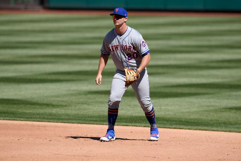 New York Mets' first baseman Pete Alonso stands on the field during a baseball game against the Washington Nationals, Thursday, March 28, 2019, in Washington. (AP Photo/Nick Wass)