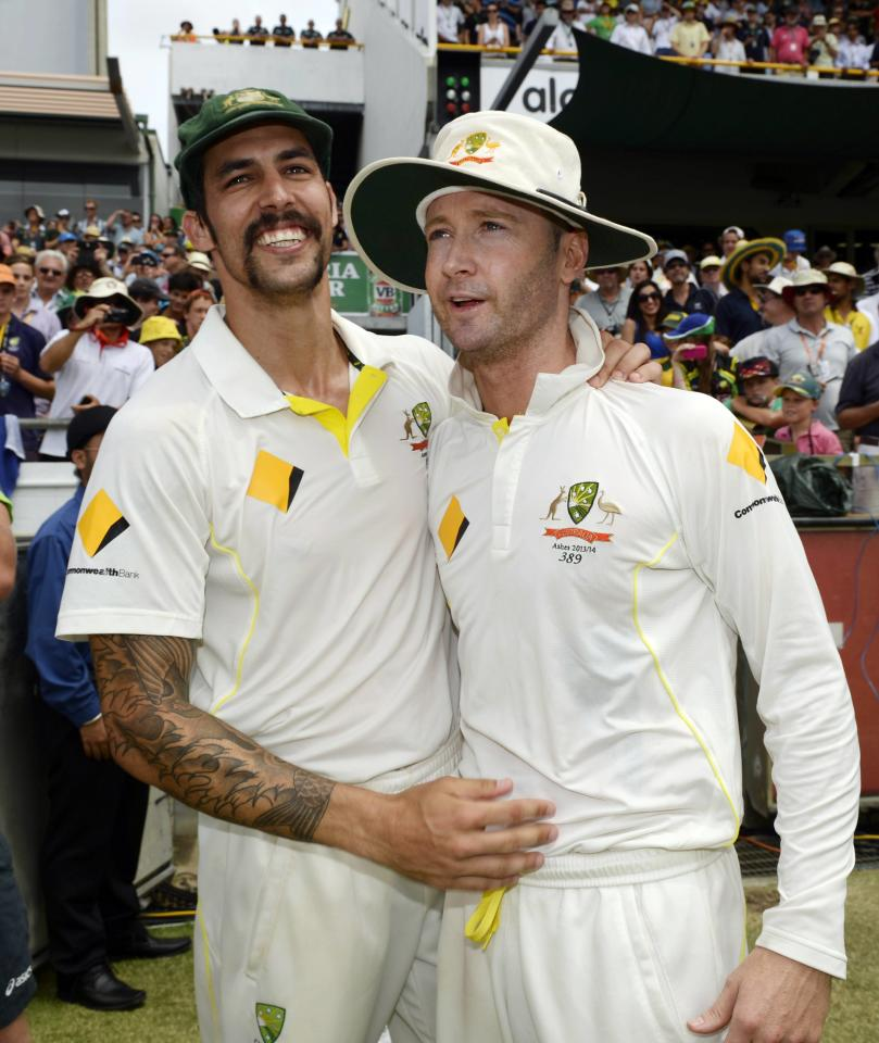 Australia's Mitchell Johnson (L) celebrates with captain Michael Clarke after they won the third Ashes test cricket series against England at the WACA ground in Perth December 17, 2013. REUTERS/Philip Brown (AUSTRALIA - Tags: SPORT CRICKET)
