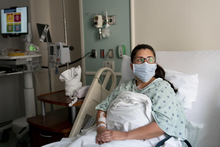 Melissa Estrada, who believes she contracted Covid-19 from attending a single dinner, at her hospital room at Houston Methodist Hospital in Houston, June 27, 2020. (Erin Schaff/The New York Times)
