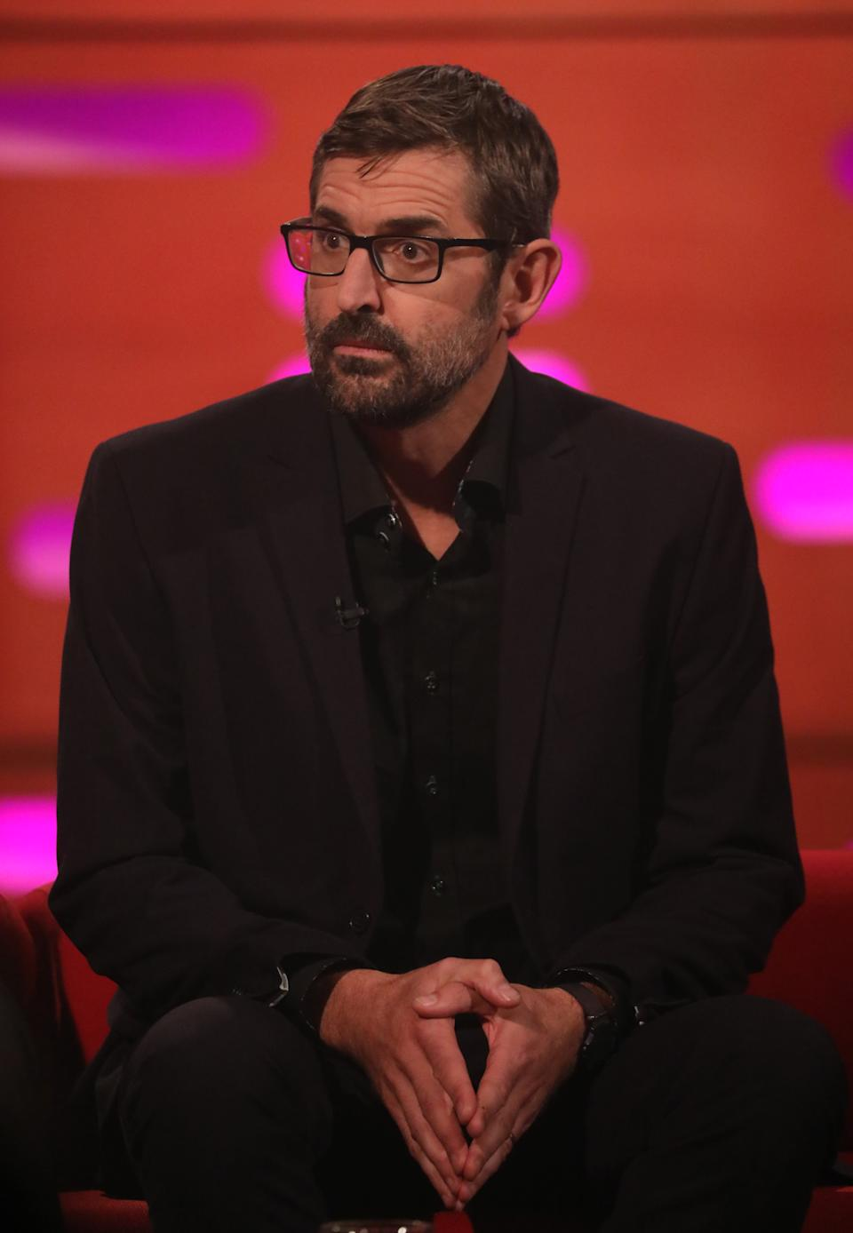 Louis Theroux during the filming for the Graham Norton Show at BBC Studioworks 6 Television Centre, Wood Lane, London, to be aired on BBC One on Friday evening. (Photo by Isabel Infantes/PA Images via Getty Images)