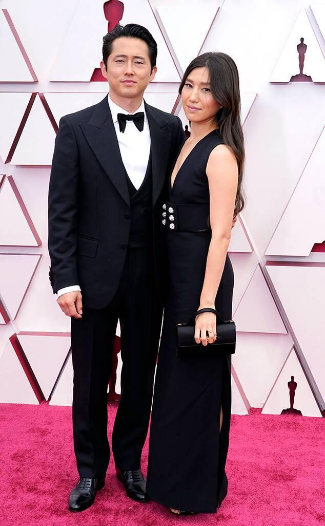 Steven Yeun, Joana Pak, 2021 Oscars, 2021 Academy Awards, Red Carpet Fashion
