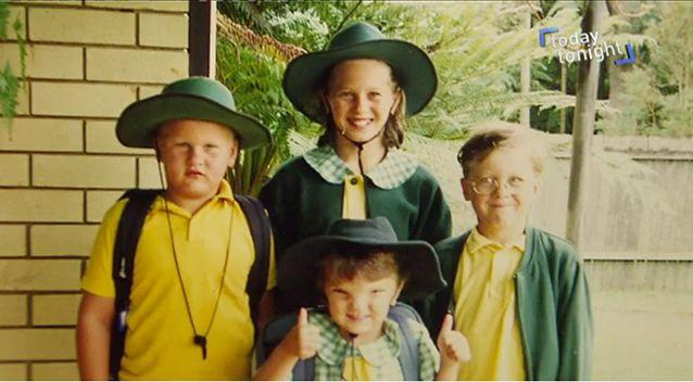 Olivia (pictured bottom middle) did not know she was 'different' until her first day of school. Source: Today Tonight