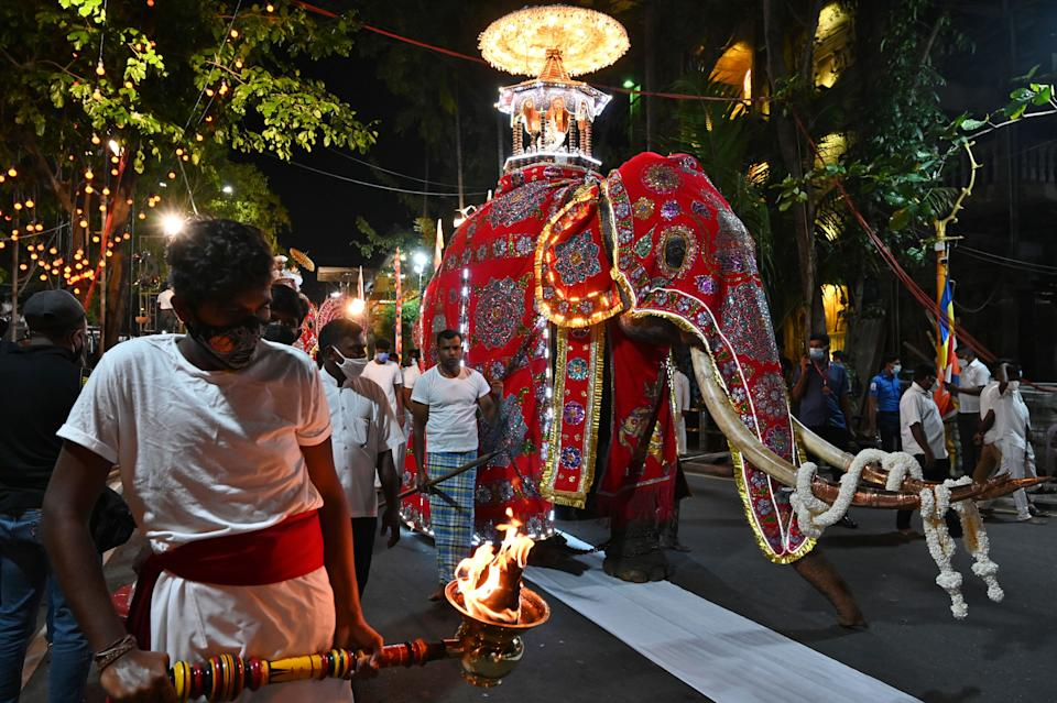 In this picture taken on February 26, 2021 an elephant decorated for the annual