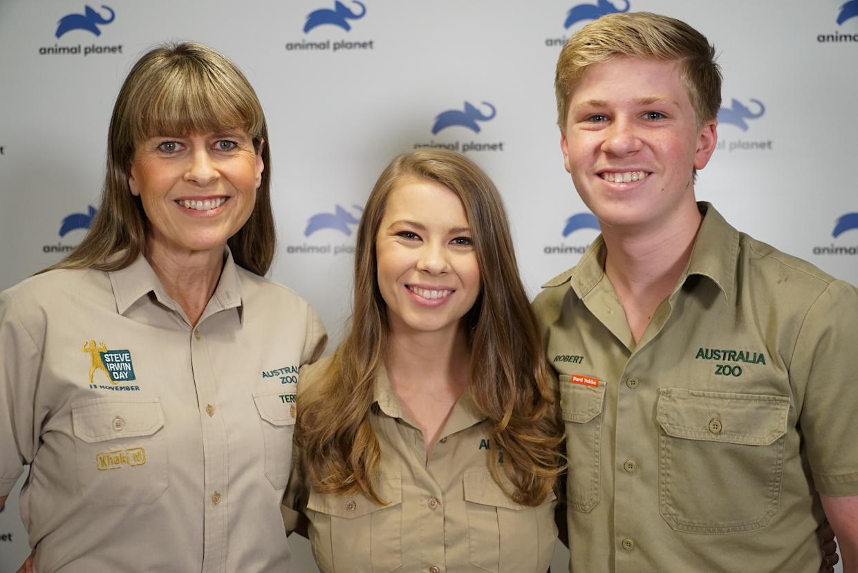 Terri, wife of the late Steve Irwin, her daughter Bindi and son Robert, pose together at the launch of their new family show on the Animal Planet television channel in London, Britain, September 26, 2018. Picture taken September 26, 2018. REUTERS/Will Russell