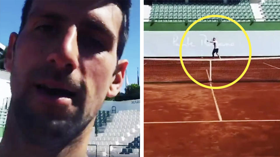 Novak Djokovic (pictured left) and an unknown player (picture right) hitting the ball.