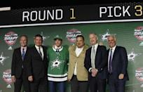 June 23, 2017; Chicago, IL, USA; Miro Heiskanen poses for photos after being selected as the number three overall pick to the Dallas Stars in the first round of the 2017 NHL Draft at the United Center. Mandatory Credit: David Banks-USA TODAY Sports