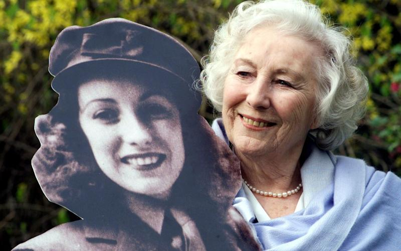 Dame Vera with a cutout of her younger self - Sean Dempsey/PA
