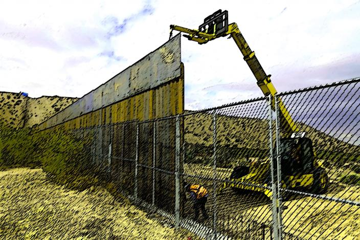 Workers raising a taller fence along the Mexico-U.S. border. (Photo illustration: Yahoo News; photo: Christian Torres/AP)