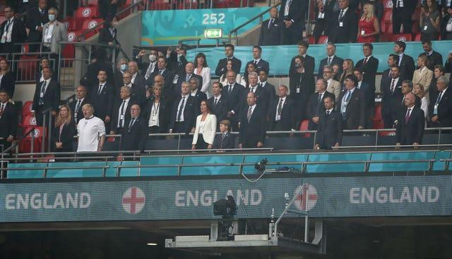 Prime Minister Boris Johnson and FIFA President Gianni Infantino at opposite ends of the Wembley box at the Euro 2020 final