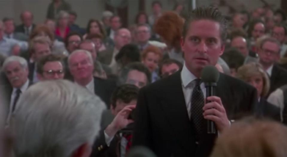 """Gordon Gekko (<strong>Michael Douglas</strong>) delivers what's probably the <a href=""""https://www.youtube.com/watch?v=VVxYOQS6ggk"""" rel=""""nofollow noopener"""" target=""""_blank"""" data-ylk=""""slk:most notorious line"""" class=""""link rapid-noclick-resp"""">most notorious line</a> about ethically challenged investors in <strong>Oliver Stone's</strong> 1987 cinematic tour de force <em>Wall Street</em>. Only problem is, he never says it. What Gekko really tells the crowd of would-be investors is this: """"The point is, ladies and gentlemen, that greed, for lack of a better word, is good. Greed is right, greed works."""" You're never going to catch somebody saying it that precise way. """"Greed, for lack of a better word, is good"""" just doesn't have the same ring to it. For more from the decade of greed, here are <a href=""""https://bestlifeonline.com/movie-quotes-80s/?utm_source=yahoo-news&utm_medium=feed&utm_campaign=yahoo-feed"""" rel=""""nofollow noopener"""" target=""""_blank"""" data-ylk=""""slk:30 Movie Quotes Every '80s Kid Knows by Heart"""" class=""""link rapid-noclick-resp"""">30 Movie Quotes Every '80s Kid Knows by Heart</a>."""