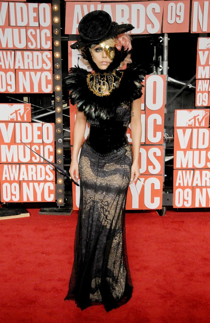 Gaga on the VMAs red carpet, wearing the first of one of many VMA looks that will go down in fashion history.