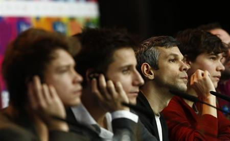 Director Csaszi and his cast Varga, Suetoe, Urendowsky attend news conference to promote movie Viharsarok (Land of Storms) at 64th Berlinale International Film Festival in Berlin