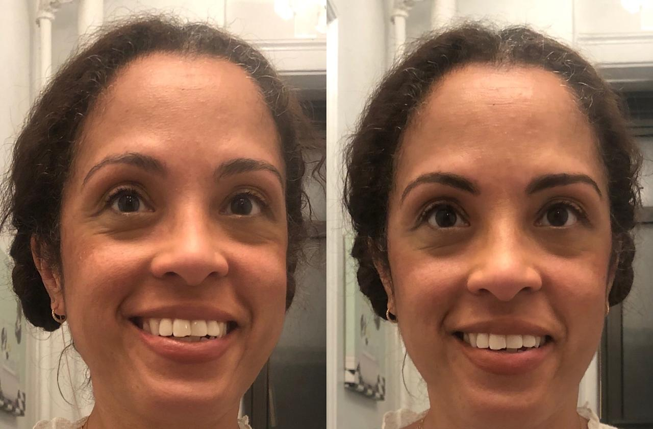 """<p>Now I know <a href=""""https://www.popsugar.com/beauty/neubrow-brow-enhancing-serum-review-47389957"""" class=""""ga-track"""" data-ga-category=""""internal click"""" data-ga-label=""""https://www.popsugar.com/beauty/neubrow-brow-enhancing-serum-review-47389957"""" data-ga-action=""""body text link"""">full brows can be polarizing</a>, but I was trying to see if a brown hue would look obviously light with my darker hair, so I <a href=""""https://www.popsugar.com/beauty/selena-gomez-hung-vanngo-rare-beauty-tutorial-video-47749824"""" class=""""ga-track"""" data-ga-category=""""internal click"""" data-ga-label=""""https://www.popsugar.com/beauty/selena-gomez-hung-vanngo-rare-beauty-tutorial-video-47749824"""" data-ga-action=""""body text link"""">applied the pencil with a firmer hand</a> and also added the gel for extra boldness.<br><br> From the before and after, I'm totally convinced I don't need a brow product that matches my hair exactly (and I think going lighter would also be softer on those with paler complexions and a bigger contrast between skin and hair colors, too). Plus, I can't make a black pencil look <em>that</em> much more subtle, even with a gentle touch, so I loved that I could get two shades from this one product so it's actually like three-in-one.</p> <p>I'm not going back to black anytime soon, and I'm so happy that I tried this because I found a new friend in brown. Ahead, see all eight colors for yourself, and decide which is your future brow bestie.</p>"""