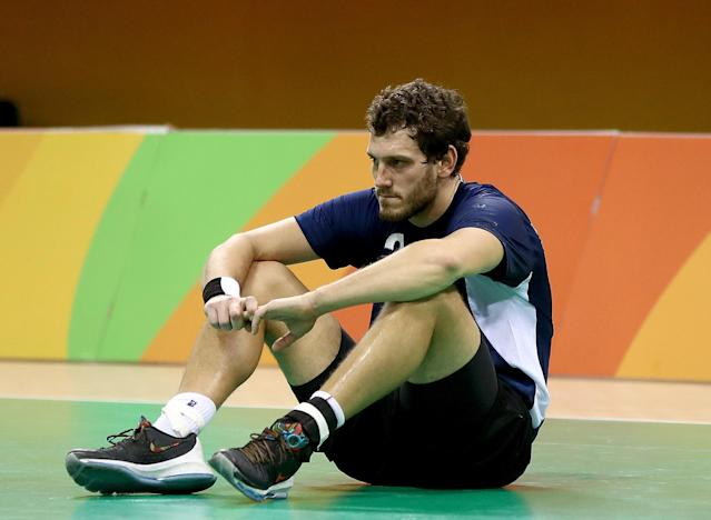 <p>Federico Fernandez of Argentina reacts to the loss to Croatia n Day 4 of the Rio 2016 Olympic Games at the Future Arena on August 9, 2016 in Rio de Janeiro, Brazil.Croatia defeated Argentina 27-26. (Photo by Elsa/Getty Images) </p>