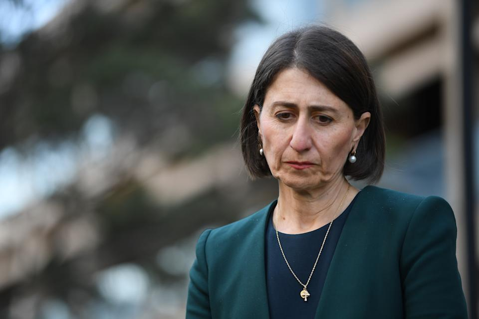 """NSW Premier Gladys Berejiklian speaks to the media during a press conference in Sydney, Monday, October 12, 2020. NSW Premier Gladys Berejiklian has admitted she was in a """"close personal relationship"""" with ex-MP Daryl Maguire, who's the subject of an anti-corruption probe. (AAP Image/Dean Lewins) NO ARCHIVING"""