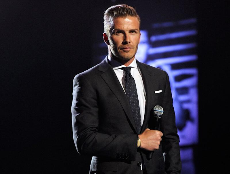 """Soccer player David Beckham speaks at the Keep Memory Alive foundation's """"Power of Love Gala"""" celebrating Muhammad Ali's 70th birthday at the MGM Grand Garden Arena February 18, 2012 in Las Vegas, Nevada. The event benefits the Cleveland Clinic Lou Ruvo Center for Brain Health and the Muhammad Ali Center. (Ethan Miller, Getty Images)"""